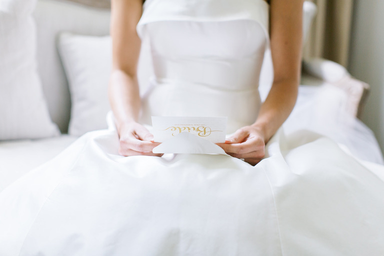 Bride Reading Letter From Groom Getting | Luxury Safety Harbor Wedding Planner Parties A'la Carte