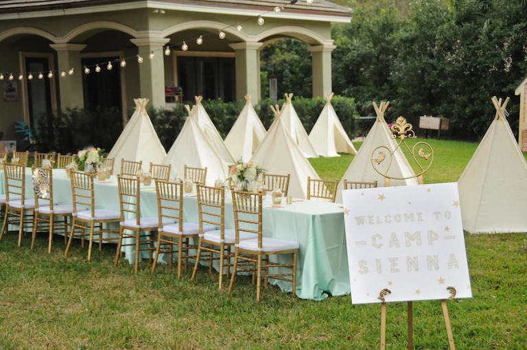Light Blue/Green Glamping Party Tablescape with Tents | Tampa Bay Children's Birthday Party and Social Event Planner Parties A La Carte