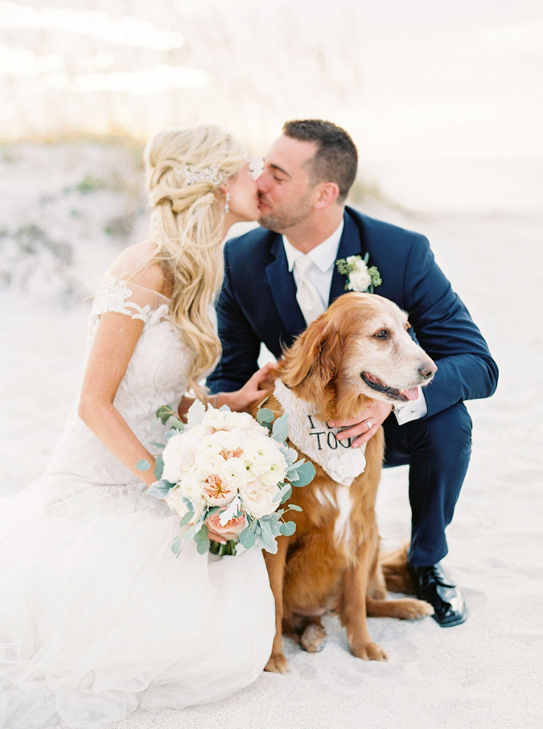 Bride and Groom Wedding Portrait with their Dog on the Beach | Clearwater Beach FL Wedding Planning by Parties a la Carte