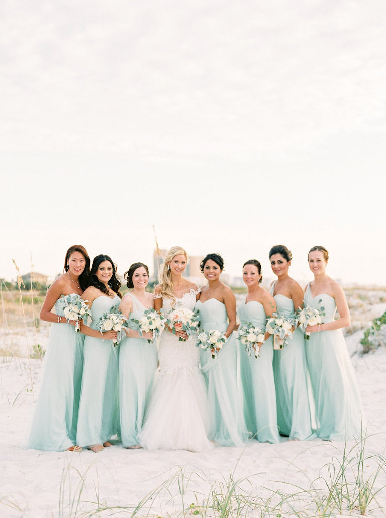 Florida Bridal Party In Mint Bridesmaids Dresses With Ivory Wedding Bouquets And Bride Lace