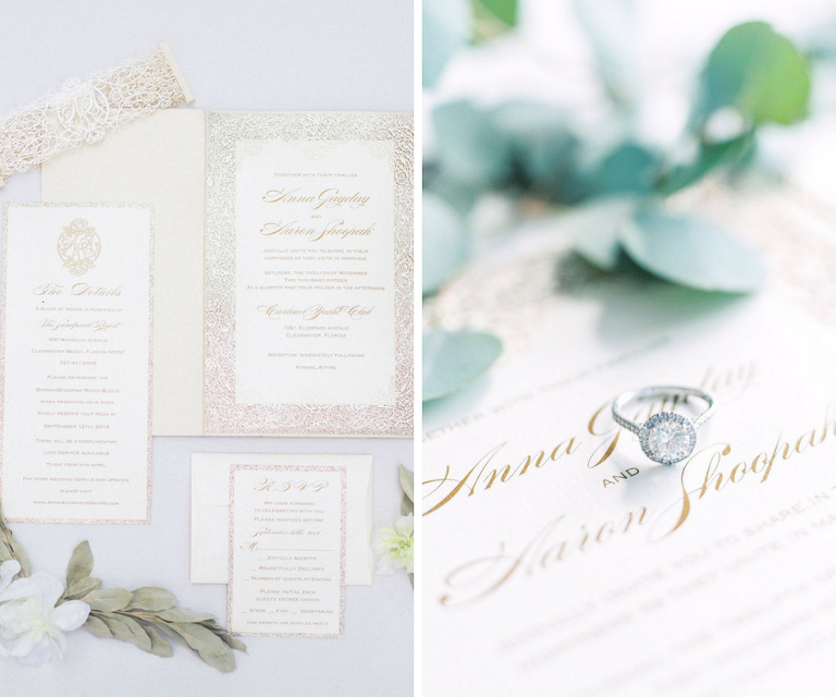 Romantic and Elegant Ivory and Gold Wedding Invitation Suite | Clearwater Beach Wedding Planning by Parties a la Carte