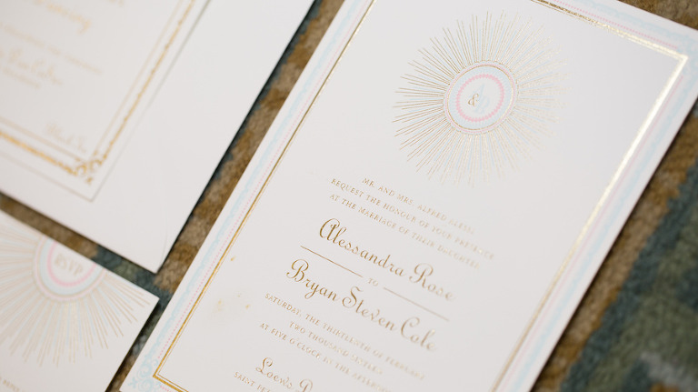 1920s Art Deco Great Gatsby Themed Gold Wedding Invitation Suite