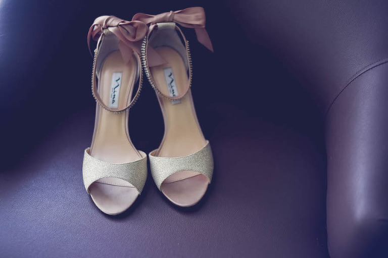 Champagne Open-Toed Nina Wedding Shoes with Blush Ankle Bow and Rhinestone Strap