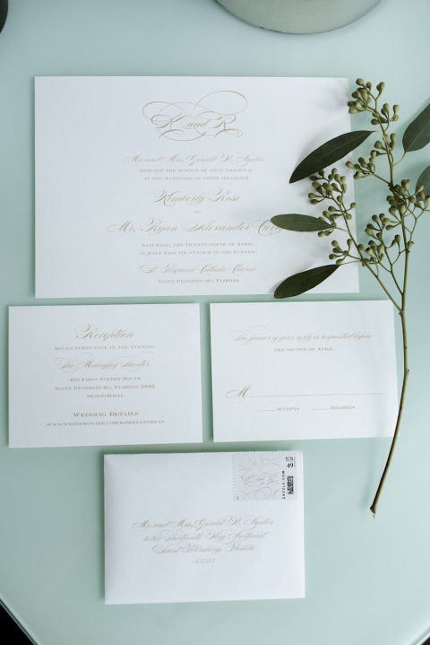 Elegant Gold Script on White Wedding Invitation Suite