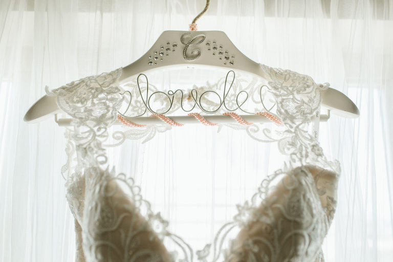 Illusion Lace Wedding Dress on Customized Hanger