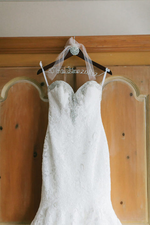 Strapless Silver Beaded Mermaid Wedding Dress on Customized Hanger