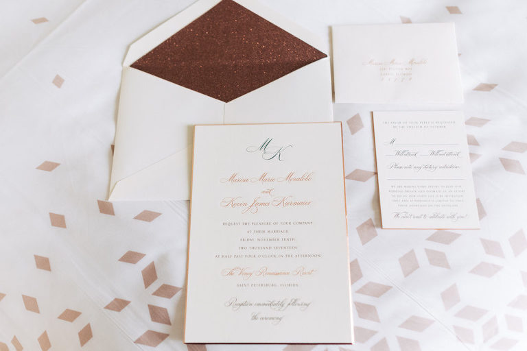 Classic gold wedding invitation with glitter liner