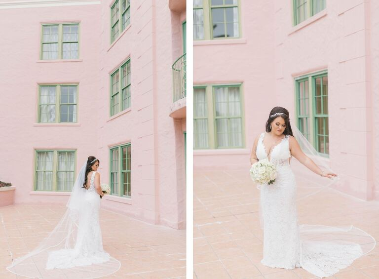 Classic Florida Bride Wearing Romantic Lace Wedding Dress Holding White and Blush Pink Rose Bridal Bouquet, In Courtyard of Vinoy Renaissance Hotel | St. Petersburg Wedding and Event Planner Parties A La Carte